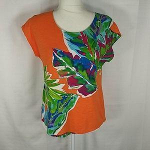 Chico's orange tropical print S.S tee 0 S 0419
